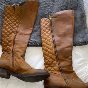 Leather quilted Steve Madden knee boots